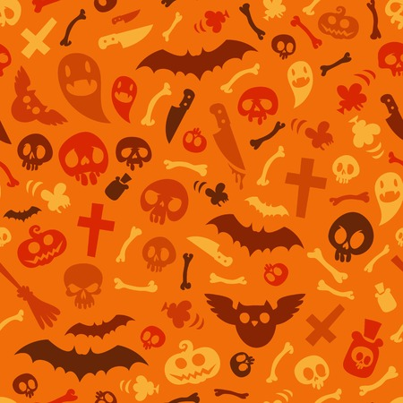 Halloween Symbols Seamless Pattern Orange Vector
