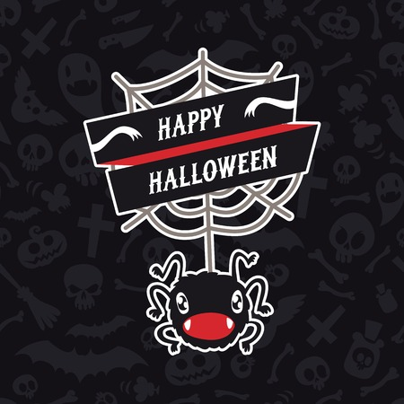 Happy Halloween Card with Spider Vector
