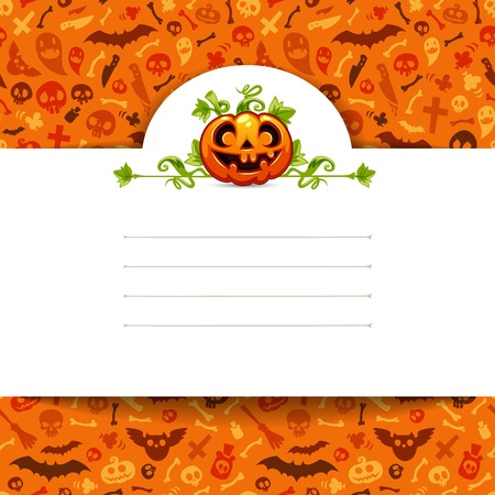White Paper Sheet with Pumpkin on Halloween Background Vector