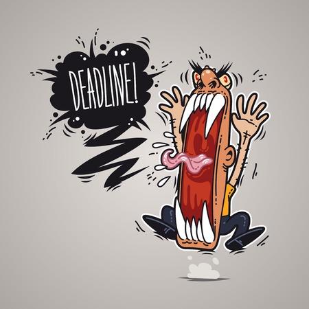 boss cartoon: Angry Boss Screaming Deadline for Humor Design or T-Shirt Print