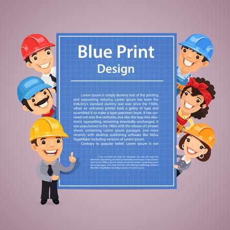 Builders Presenting Blue Print Poster Vector