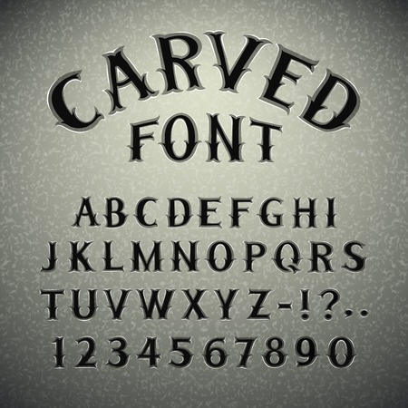 western script: Font Carved in Stone Illustration