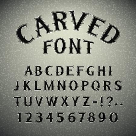 lettres alphabet: Font grav� dans la pierre Illustration