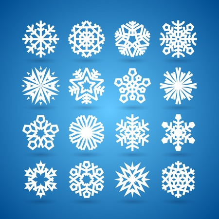 snow flake: Simple Flat Snowflakes Set for Winter and Christmas Desing
