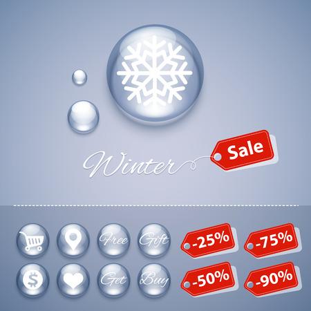 glossy buttons: Inverno Vendita Pulsanti lucidi Templates