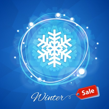sale sign: Winter Sale Banner with Snowflake on Blue Geometric Background
