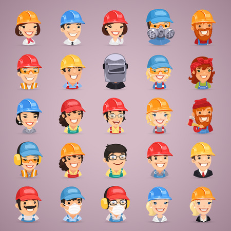 respirator: Builders Cartoon Characters Icons Set