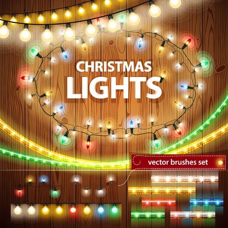 diciembre: Luces de Navidad Decoración Set Vectores