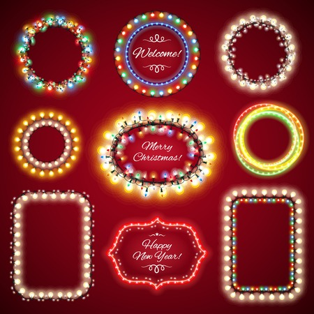 Christmas Lights Frames with a Copy Space Set1 for Celebratory Design. Used pattern brushes included. Vector