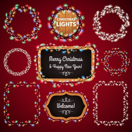 Christmas Lights Frames with a Copy Space Set4 for Celebratory Design. Used pattern brushes included. Imagens - 33132723