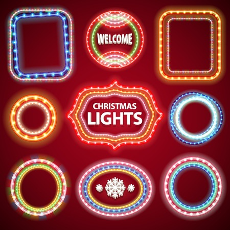 christmas bulbs: Christmas Neon Lights Frames with a Copy Space Set2 for Casino or Christmas Design. Used pattern brushes included.
