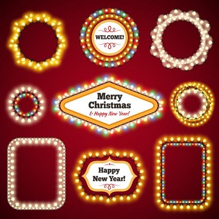 Christmas Lights Frames with a Copy Space Set3 for Celebratory Design. Used pattern brushes included. Ilustração