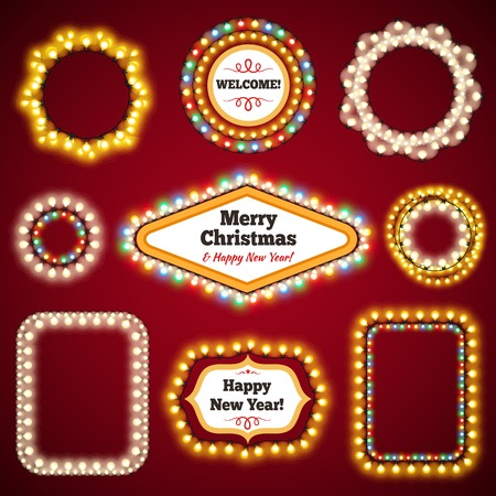 Christmas Lights Frames with a Copy Space Set3 for Celebratory Design. Used pattern brushes included. Illustration