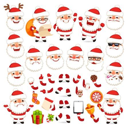 weihnachtsmann lustig: Reihe von Comic-Weihnachtsmann f�r Ihre Weihnachts-Design oder Zeichentrickaufnahme. Isoliert auf wei�em Hintergrund. Beschneidungspfade in weitere jpg-Format enthalten