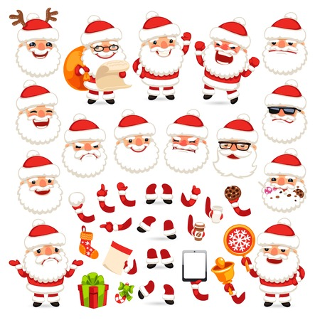 Set of Cartoon Santa Claus for Your Christmas Design or Animation. Isolated on White Background. Clipping paths included in additional jpg format Vector