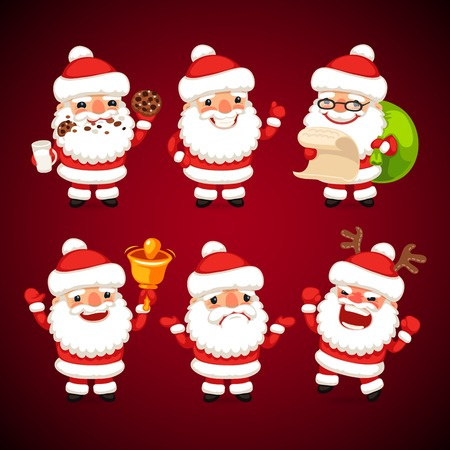 Set of Cartoon Santa Claus in Various Poses. Happy Holidays.  Vector
