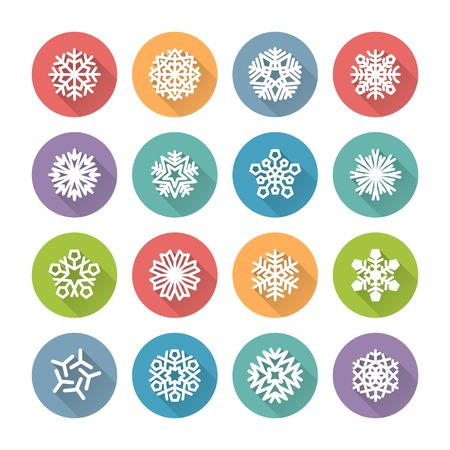 snowflake set: Set of Simple Round Snowflakes Icons for Winter and Christmas Design. Clipping paths included in additional jpg format.