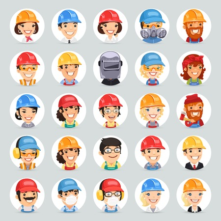 respirator: Builders Cartoon Characters Icons Set1.2. In the EPS file, each element is grouped separately. Clipping paths included in additional jpg format.
