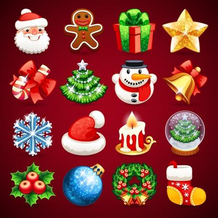 galletas de navidad: Conjunto de iconos de Navidad