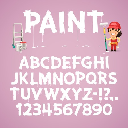 cartoon painter: Set of Letters and Numbers Painted on a Wall