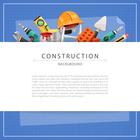 builder logo: Blueprint Construction Background with Copy Space