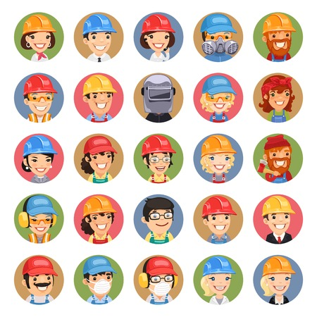 respirator: Builders Cartoon Characters Icons Set1.3