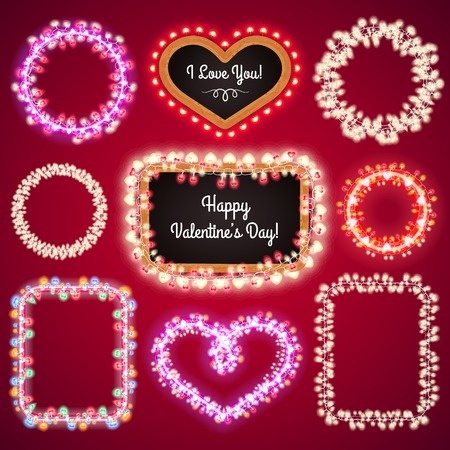 bright lights: Valentines Lights Frames with a Copy Space Set4