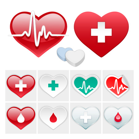 Vector Medical Set of Hearts Icons Vector