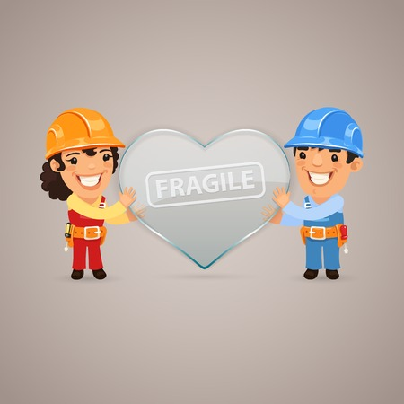 cartoon carpenter: Valentines Day Poster with Couple Workers Illustration