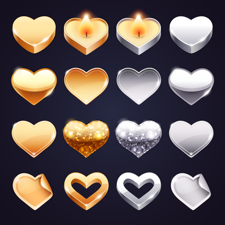 glass heart: Set of Vector Golden and Silver Hearts Illustration