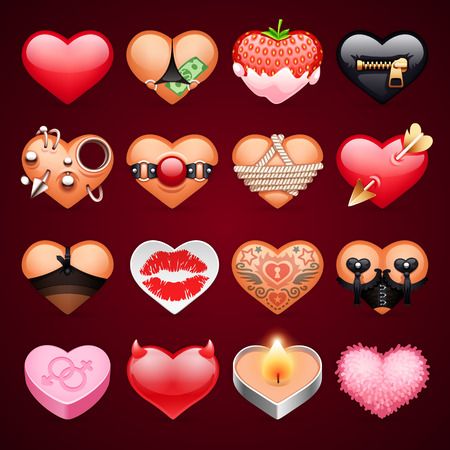 romantic couples: Set of Hearts Icons