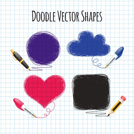 paper and pen: Vector Doodle Shapes Set