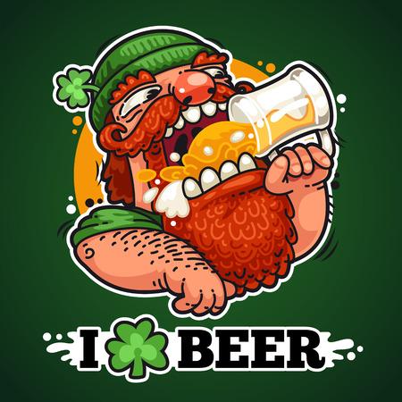 irish pub label design: Patrick With Beer