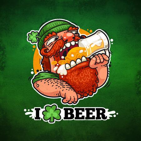 cartoon shamrock: Patrick With Beer