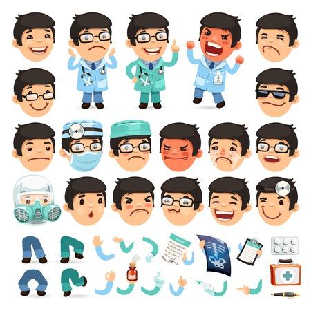 medico caricatura: Conjunto de dibujos animados médico de caracteres para su diseño o Aanimation Vectores