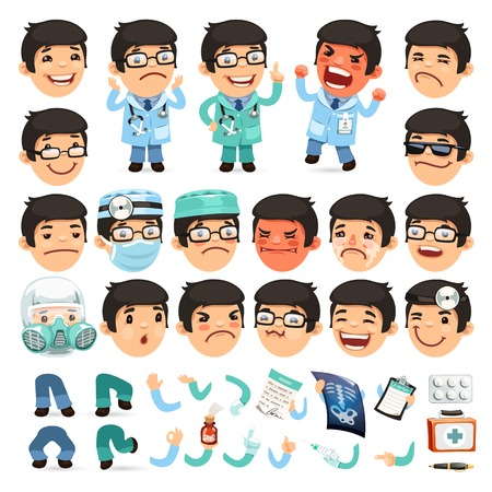 sad cartoon: Set of Cartoon Doctor Character for Your Design or Aanimation