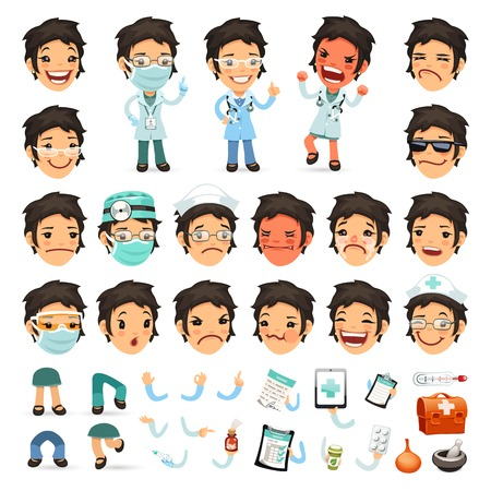 medico caricatura: Conjunto de la mujer de la historieta Médico de caracteres para su diseño o Animati