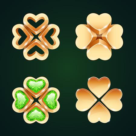 fourleaf: Vector Golden Four-leaf Clovers Set1 Illustration