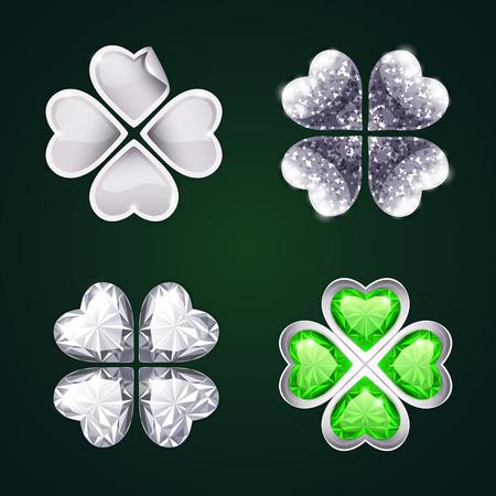 fourleaf: Vector Silver Four-leaf Clovers Set3
