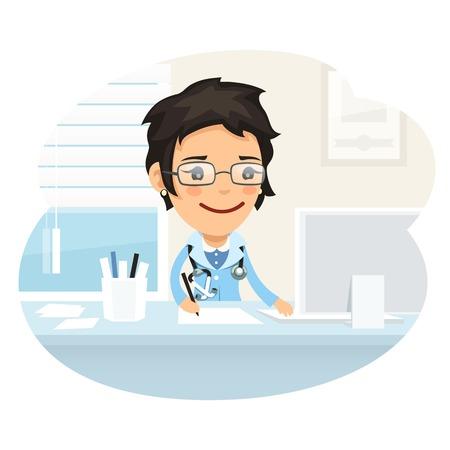 oficina: Doctor de la mujer del personaje sentado en el escritorio Vectores