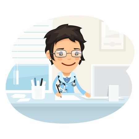 work on computer: Woman Doctor Character Sitting at the Desk