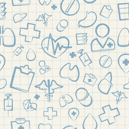 squared: Medical Seamless Pattern on White Squared Paper Sheet Illustration