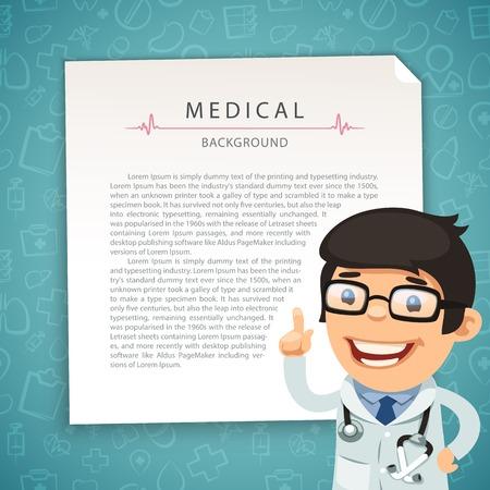 medico caricatura: Aquamarine Fondo médico con el doctor