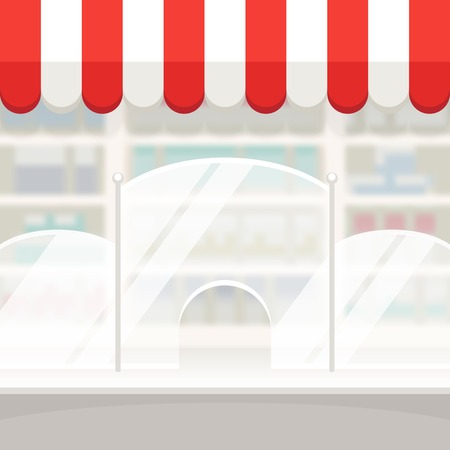 pharmacy store: Facade of a Shop Store or Pharmacy Background Illustration