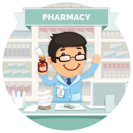 pharmacy icon: Apothecary behind the Counter at Pharmacy Round Banner Illustration