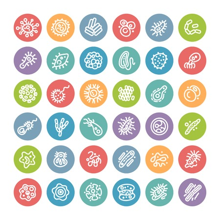 microbiologia: Conjunto de iconos planos de la Ronda con bacterias y los gérmenes