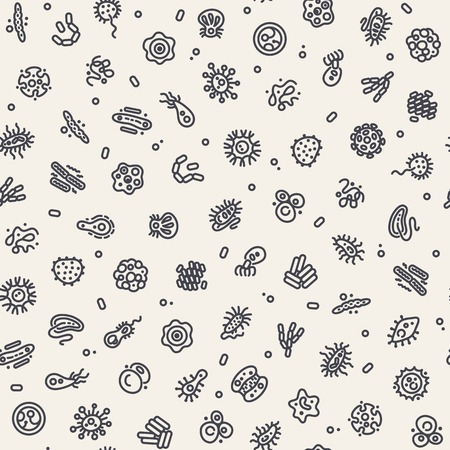 Light Seamless Pattern with Bacteria and Germs Vettoriali