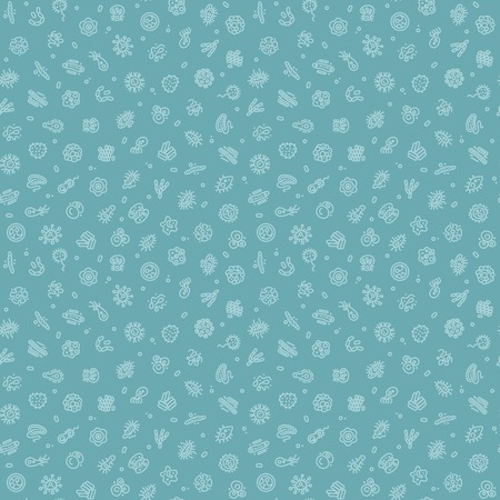 herpes virus: Blue Seamless Pattern with Bacteria and Germs Illustration