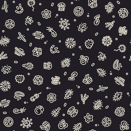 coli: Dark Seamless Pattern with Bacteria and Germs