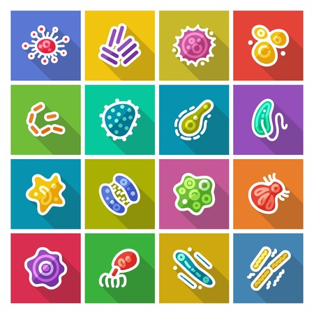 herpes virus: Germs and Bacteria Flat Icons Set